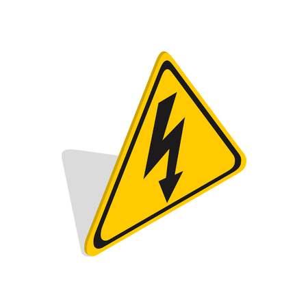 voltage sign: High voltage sign icon in isometric 3d style on a white background
