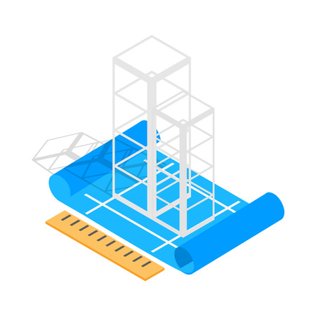 preliminary: Building construction plan icon in isometric 3d style on a white background Illustration
