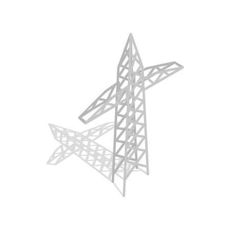 high tension: Power transmission tower icon in isometric 3d style on a white background