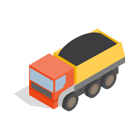 iron ore: Dump truck icon in isometric 3d style on a white background