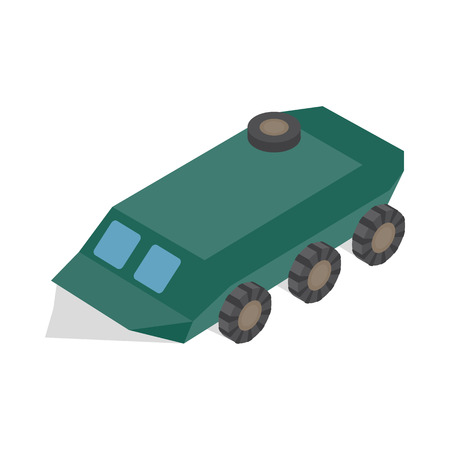 armoured: Armoured troop carrier wheeled icon in isometric 3d style on a white background