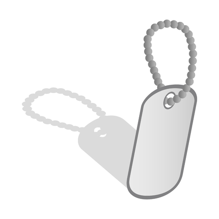 blank metallic identification plate: Identification army badge icon in isometric 3d style on a white background