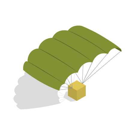 freefall: Military parachute icon in isometric 3d style