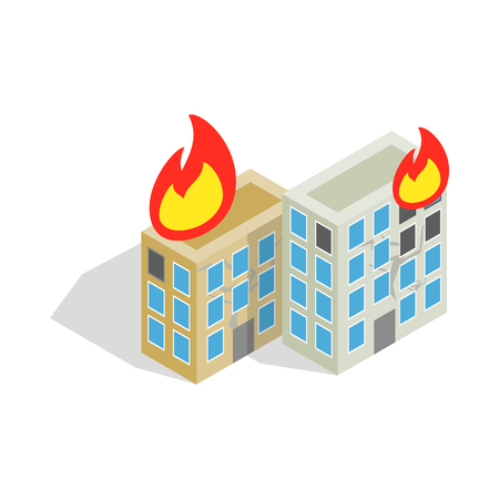 house fire: Multistory houses burn, modern war icon in isometric 3d style on a white background Illustration