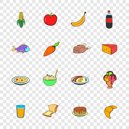 transparency: Food icons set in pop-art style with transparency for design Illustration