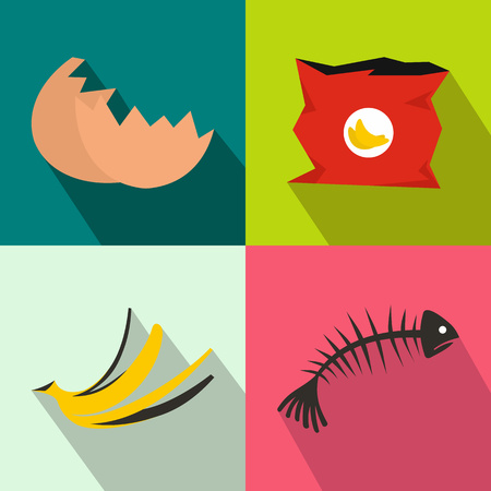 Waste banners set set in flat style for any design Vektorové ilustrace