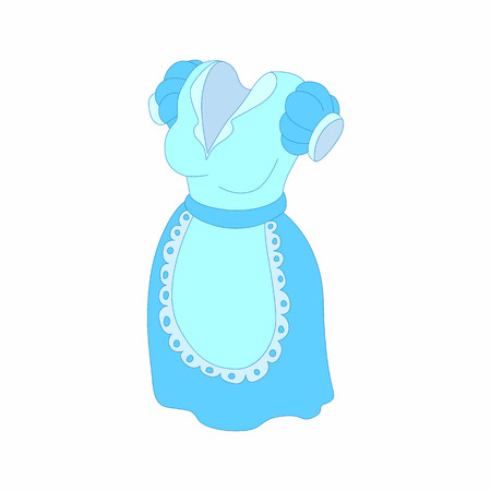 blue dress: Blue dress and white apron icon in cartoon style on a white background Illustration