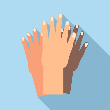 nationalities: Hands of people of different nationalities icon in flat style with long shadow. Friendship of peoples symbol