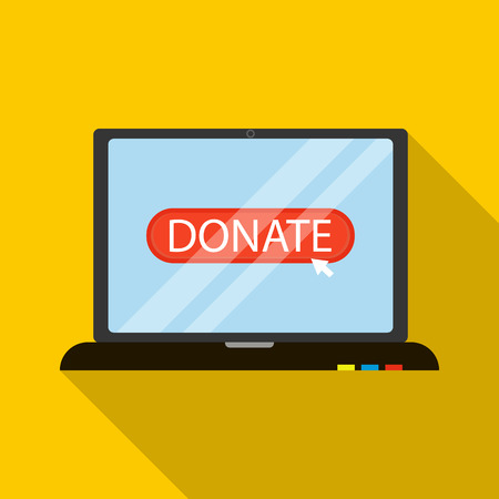 shadow people: Online donation icon in flat style with long shadow. Financial assistance to people symbol Illustration