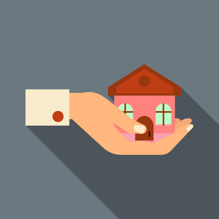 hand holding house: Hand holding house icon in flat style with long shadow. Real estate symbol