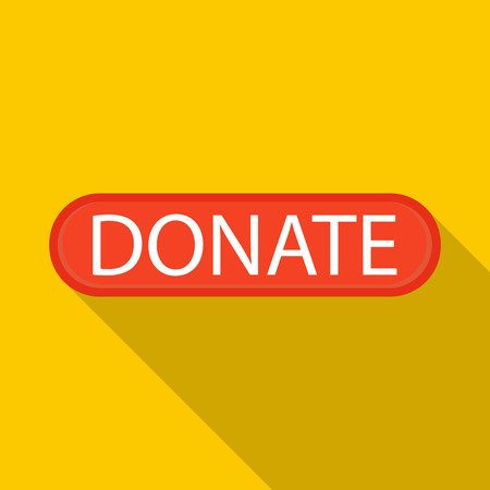shadow people: Donate icon in flat style with long shadow. Financial assistance to people symbol
