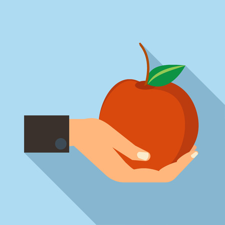 shadow people: Hand holding apple icon in flat style with long shadow. People and fruits symbol