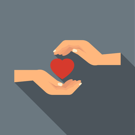 hand hold: Hands holding heart icon in flat style with long shadow. Love and relationship symbol Illustration