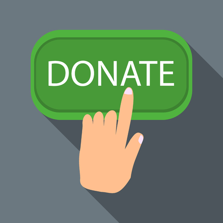 shadow people: Hand presses button to donate icon in flat style with long shadow. Financial assistance to people symbol