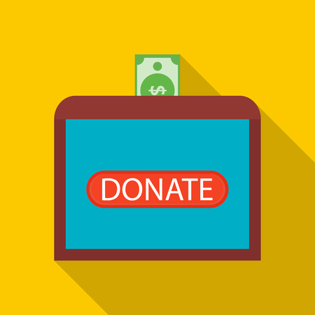 needy: Donate money to sick children icon in flat style with long shadow. Financial assistance to people symbol