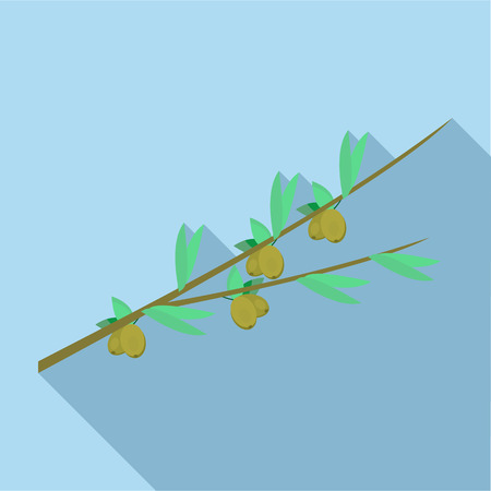 cultivation: Olive branch icon in flat style with long shadow. Cultivation of olives symbol Illustration