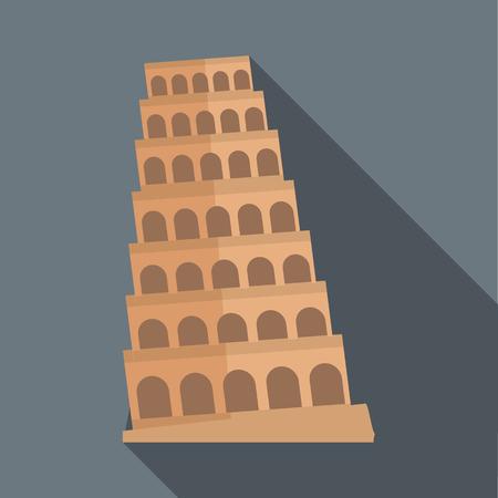 leaning tower of pisa: Leaning tower of Pisa icon in flat style with long shadow. Landmark symbol Illustration
