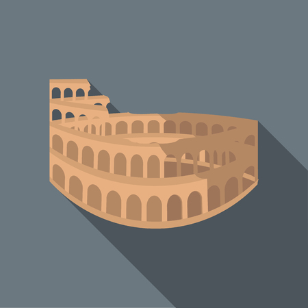 amphitheater: Colosseum in Rome icon in flat style with long shadow. Landmark symbol
