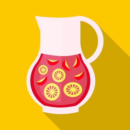 Buvez sangria icône dans un style plat avec ombre. Des boissons et des cocktails symbole Banque d'images - 58846480