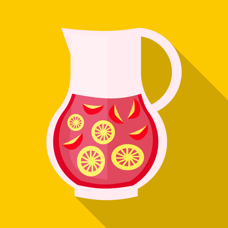 Drink sangria icon in flat style with long shadow. Drinks and cocktails symbol Çizim