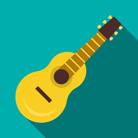 musical instrument symbol: Guitar icon in flat style with long shadow. Musical instrument symbol Illustration