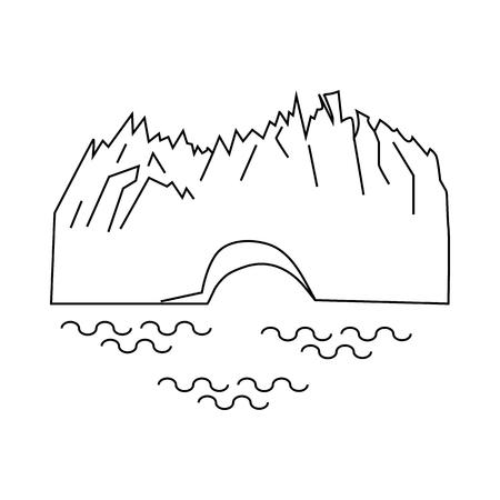 glacier Perito Moreno en Argentine icône dans style de contour isolé sur fond blanc