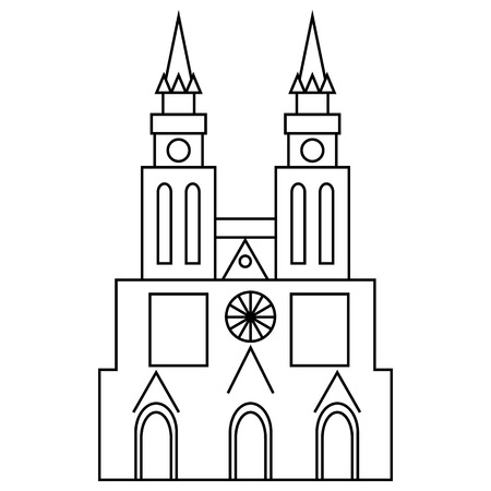 basilica: Basilica of Our Lady of Lujan, Argentina icon in outline style isolated on white background