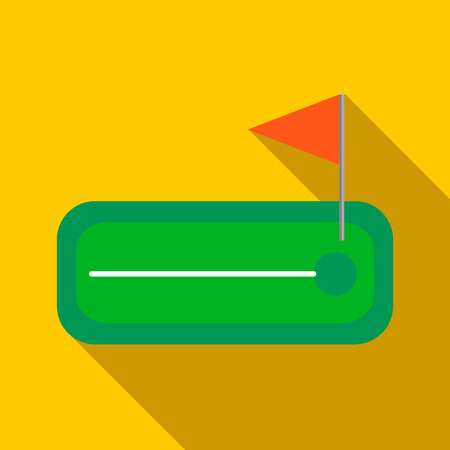 Green golf course with a hole and flagstick icon in flat style on a yellow background