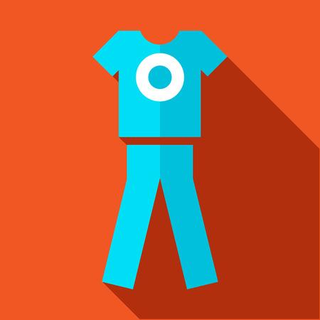 sports uniform: Tshirt and pants, sports uniform icon in flat style on an orange background Illustration