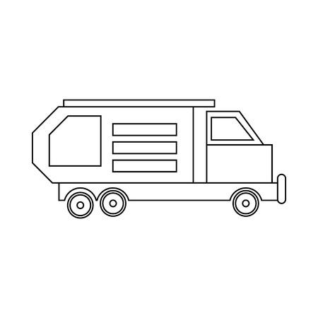 recolector de basura: camión de la basura, icono del recipiente para residuos en estilo de contorno aislado en el fondo blanco Vectores