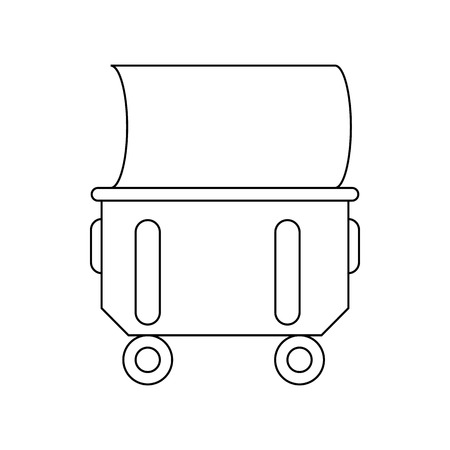 wheelie: Household or industrial wheelie bin icon in outline style isolated on white background Illustration