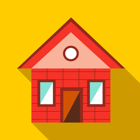 toy house: Toy house icon in flat style on a yellow background Illustration