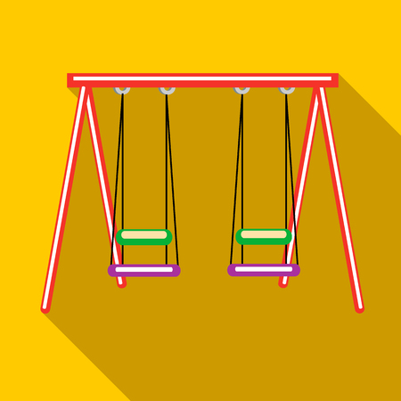 schoolyard: Two swings icon in flat style on a yellow background