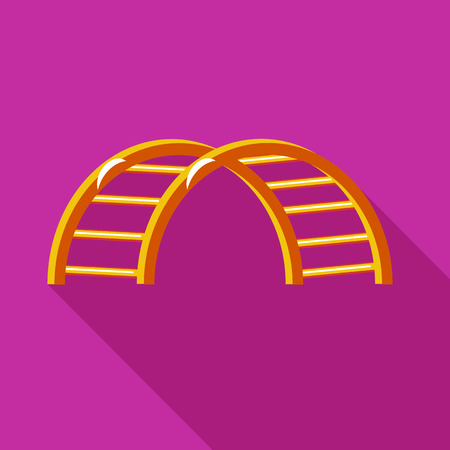 climbing stairs: Climbing stairs on a playground icon in flat style on a fuchsia background