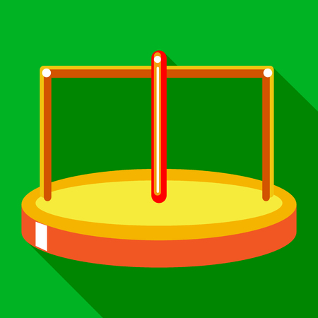 merry go round: Merry go round icon in flat style on a green background