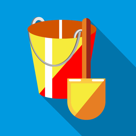 sandbox: Bucket and shovel for childrens sandbox icon in flat style on a sky blue background