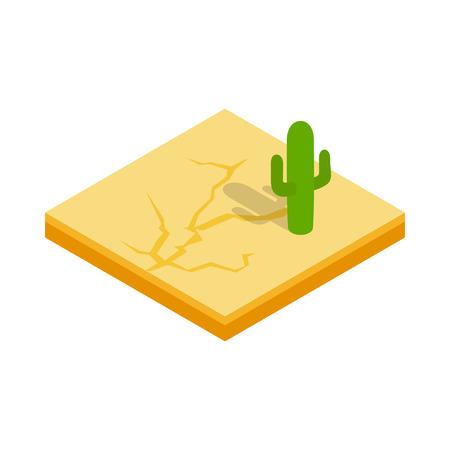 arizona sunset: Desert cactus landscape icon in isometric 3d style isolated on white background. Nature symbol