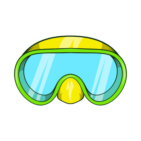 diver: Goggles for diving icon in cartoon style isolated on white background. Swimming symbol