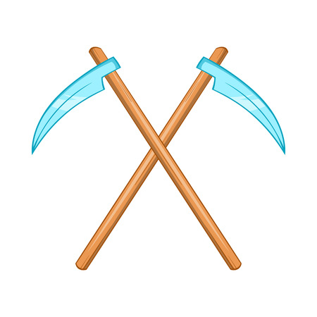 immortal: Death scythe icon in cartoon style isolated on white background Illustration