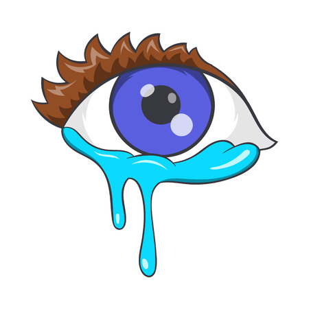 Crying eyes icon in cartoon style isolated on white background. Tears and sadness symbol