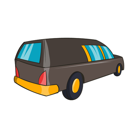 hearse: Hearse icon in cartoon style isolated on white background. Transport symbol Illustration