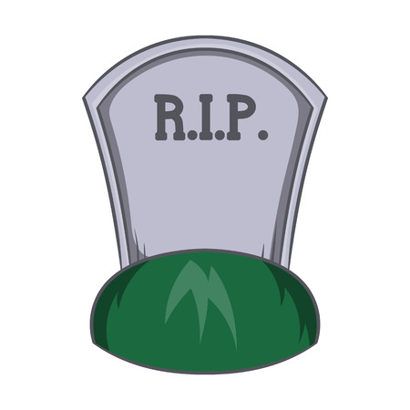 rip: Grave rip icon in cartoon style isolated on white background. Death symbol Illustration