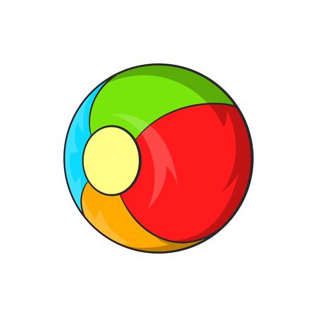 pelota caricatura: Niños icono de la bola en el estilo de dibujos animados aislado en el fondo blanco. Juegos y juguetes símbolo