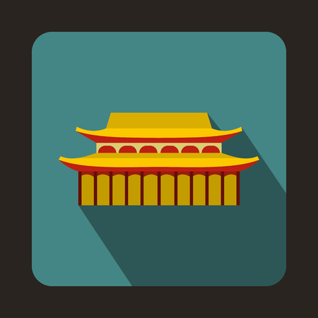 toothe: Buddha Toothe Relic Temple in Singapore icon in flat style on a bluegreen background