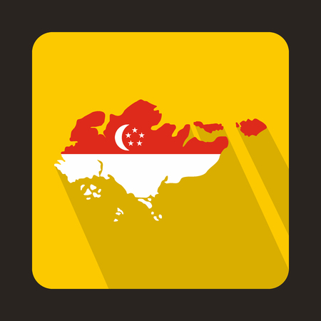 singaporean flag: Map of Singapore with flag icon in flat style on a yellow background Illustration