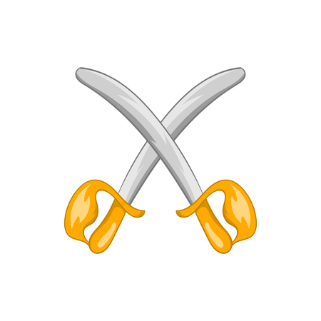 medieval blacksmith: Toy swords icon in cartoon style isolated on white background. Games and toys symbol Illustration