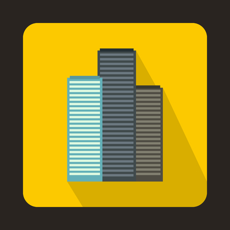 Skyscrapers in Singapore icon in flat style on a yellow background