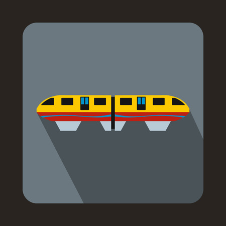 monorail: A colorful monorail train icon in flat style on a gray background Illustration