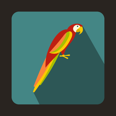 bluegreen: Colorful parrot icon in flat style on a bluegreen background