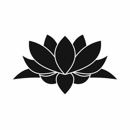 Icona del fiore di loto in stile semplice isolato su sfondo bianco Vettoriali